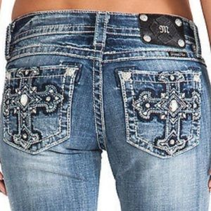 Miss Me Cross Pocket Bootcut Jeans